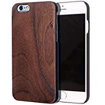 iPhone 6 Case - Wood - Real Natural Bamboo or Walnut Wooden Backplate and Shock Absorbing Polycarbonate Protective Bumper