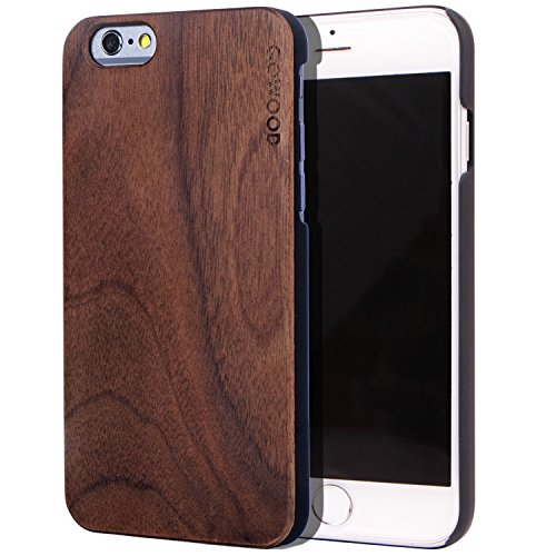 Walnut Wood Case - iPhone 6 / 6S Wood Case | Real Natural Walnut Backside and Durable Hard Polycarbonate Shockproof Bumper and Shock Absorbing Rubber Coating
