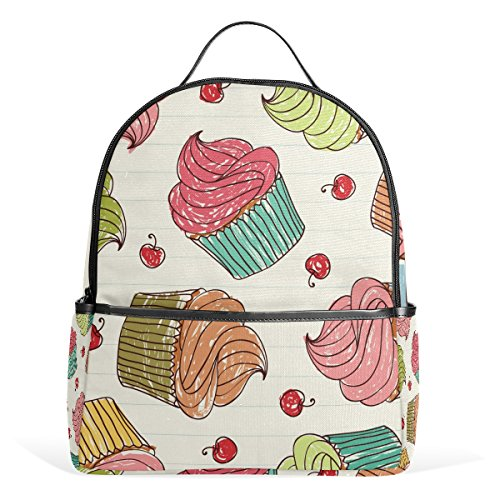 AURELIOR Cupcakes Cherry Laptop Backpack Casual Shoulder Daypack for Student School Bag Handbag - (Casual Light Cherry)