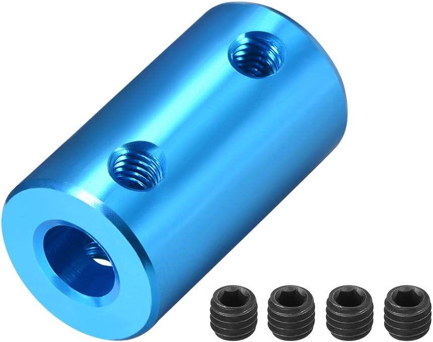 sourcing map 2stk Welle Kupplung Roboter Motor Rad Koppler Blau 5mm zu 5mm Bohrung L25xD14