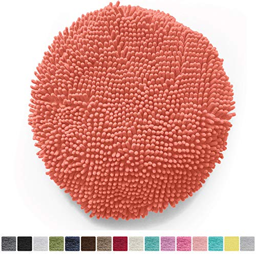 Gorilla Grip Original Shag Chenille Bathroom Toilet Lid Cover, 19.5 x 18.5 Inches Large Size, Machine Washable, Ultra Soft Plush Fabric Covers, Fits Most Size Toilet Lids for Bathroom, Coral