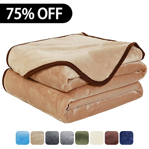 Luxury Fleece Super Soft Thermal Blanket Warm Fuzzy Microplush Lightweight Blankets for Bed Sofa, Seashell Series,Throw,50 by 61 Inches,Camel (Throw Bedding)