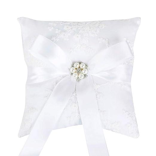 Blanco bordado de encaje boda anillo almohada cojín grande ...
