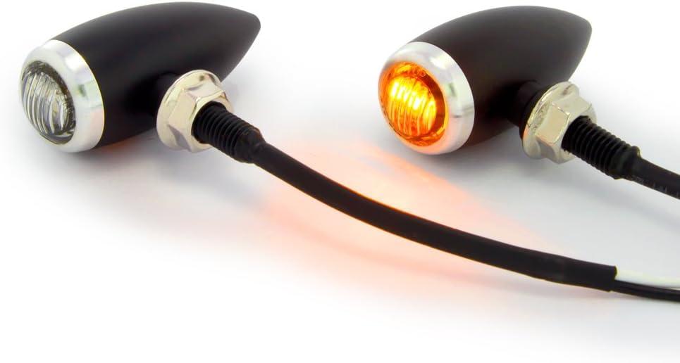 Petit Noir /& Argent Bullet LED Moto Clignotants Id/éal pour Personnalis/é R/étro Vintage