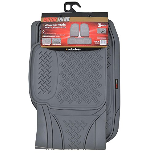 All weather gray diamond rubber ridged odorless truck suv for Motor trend floor mats review