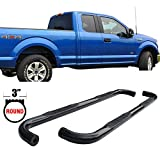 Side Step Bars Fits 2015-2017 Ford F150 Super Cab | Black Powder Coat Finish Carbon Steel Running Boards Nerf Bars By IKON MOTORSPORTS | 2016