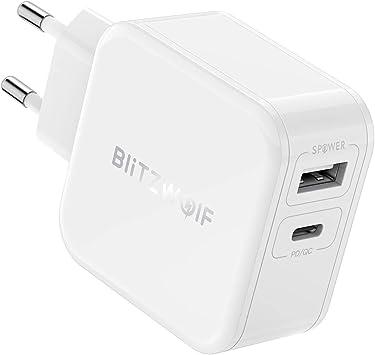 USB C Cargador PD, BlitzWolf 30W Cargador Móvil 2 Puertos (Tipo C ...