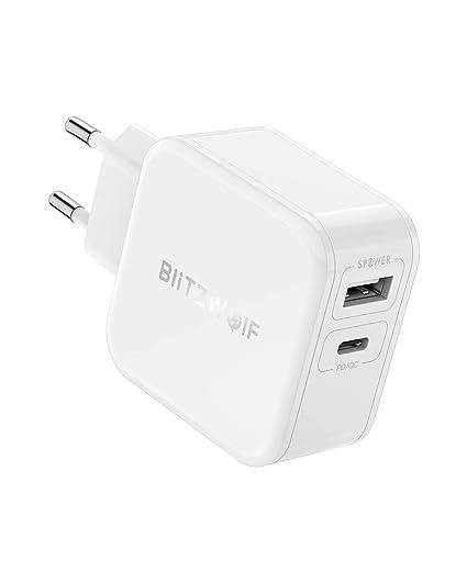 USB C Cargador PD, BlitzWolf 30W Cargador Móvil 2 Puertos (Tipo C PD & 5V 2.4A) Carga Rápida con Tecnología de Power3S para iPhone X/8/7/6S, Samsung ...