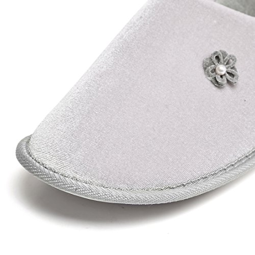 Shoes Slip Sole Indoor Comfort ChicNChic Memory House Non Women Grey Foam Slippers Cotton qBfSPUfx