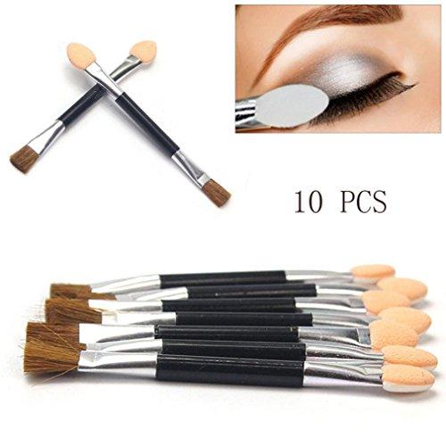 Hot Sale! Exteren 10pcs Women Disposable Double Ended Sponge Brush Eye Shadow Applicator Tools Foundation Brush Makeup Brush Face Brushes (Black) Double Ended Eye