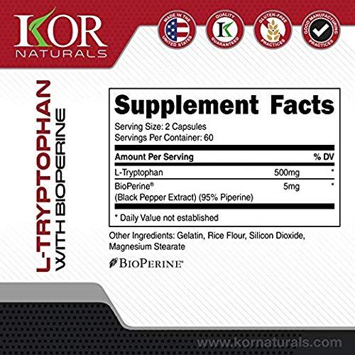 Amazon.com: Kor Naturals – PREMIUM L Triptofano 500 mg ...
