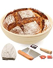 25,4 cm rund brödbannetonsäker korg för surdough, inkluderar linnedja, metalldegskrapa, scing lame & fodral, extra blad, stigande deg bakskål presenter till hantverkare brödtillverkning startare