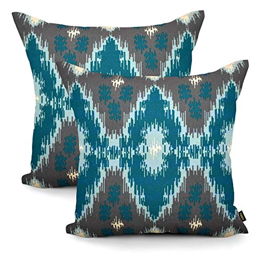 Arriba, 18x18 Inches | 45x45 Cms, Pack/Set of 2 Pcs, Modern Ikat Diamond Printed Pattern Standard Size Pure Cotton Accent Decorative Canvas Throw Pillow Cases | Cushions Covers for Home.(Grey Shade)