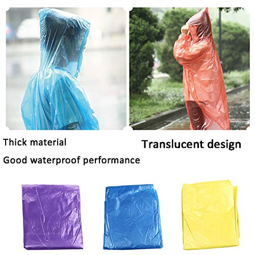 (JDgoods 10PCS Raincoat, Disposable Adult Emergency Waterproof Rain Coat Hood Poncho for Outdoors, Hiking, Camping, School Sporting Corporate Events Group Activity)