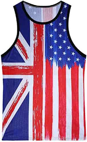 74bc6b74f4028e OTINICE Men American Flag Tank Top Stripes Stars All-Over Print Slim Fit  Muscle Shirt