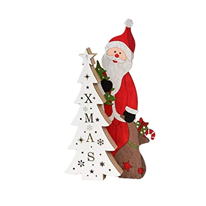 Amazon Com Bestoyard Wooden Santa Claus Ornaments With Xmas Tree