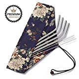 Reusable Straws With Case-Each Food Grade Stainless Steel Metal Drinking Straw Is Eco Friendly,Portable,Reuseable,Suits For Travel,Regular Cup,Glass/Glasses & 20 Oz Tumbler. Has Pouch & Cleaning Brush