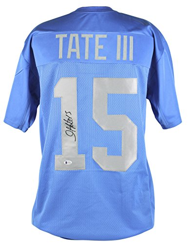 Lions Golden Tate Authentic Signed Blue Thanksgiving Jersey BAS Witnessed