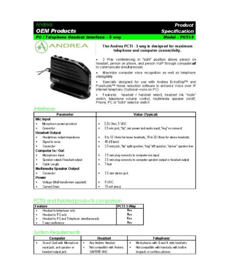 Andrea Electronics C1-1020700-1 Model PCTI-3 3-Way Telephone Headset Interface, Designed for Maximum Telephone and Computer Connectivity; 2.2k Ohm, 5 VDC Microphone Power Provided by Andrea Electronics Corporation (Image #1)