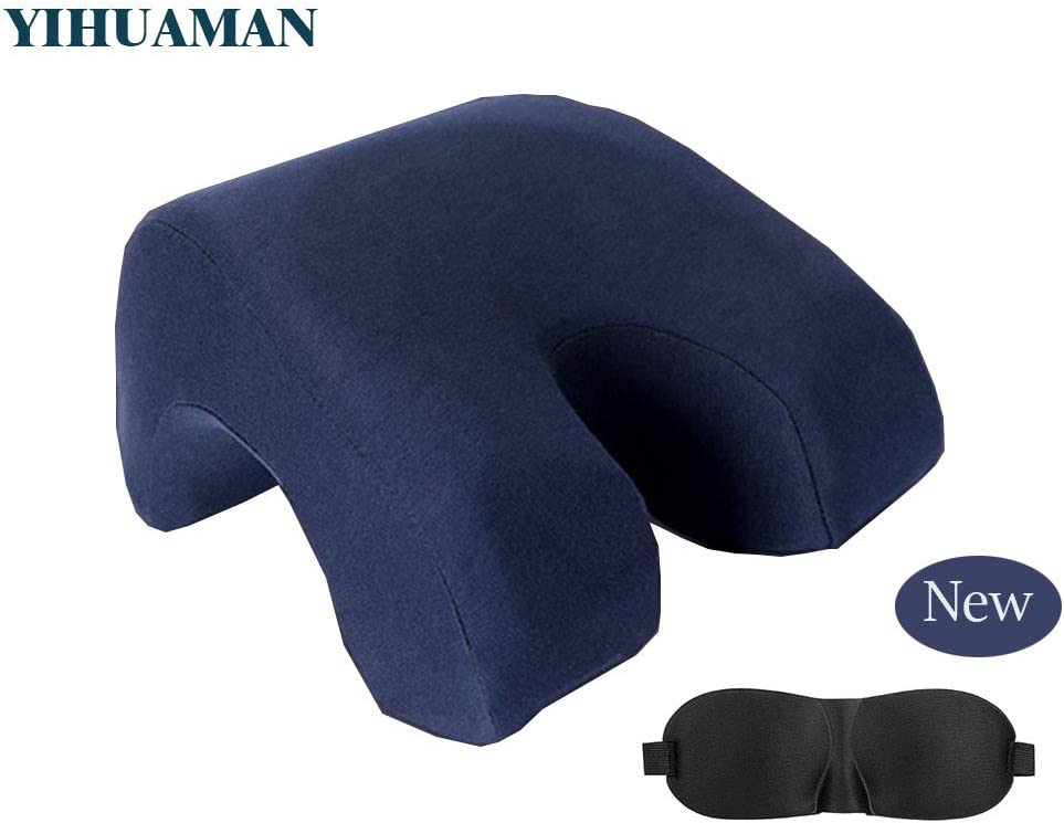 YIHUAMAN Nap Sleeping Neck Pillow, Memory Foam Slow Rebound U Shape for Traveling, School,Office. Sleeper Head/Neck/Back Pain Support Pillow, Removable Ice Silk Skin-Friendly Pillowcase,Navy.