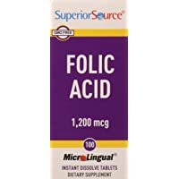 Superior Source Folic Acid Vitamin B9 1200 mcg Sublingual Instant Dissolve Tablets Under Tongue Melts, 100 Count