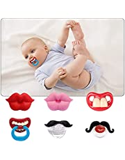 AUSTUFF 6Pack Baby Funny Pacifier Cute Kissable Lips and Gentleman Mustache Teeth Pacifier, Soft Silicone for Babies and Toddlers Shower Gift Unisex-BPA Free