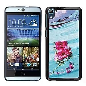 Caucho caso de Shell duro de la cubierta de accesorios de protección BY RAYDREAMMM - HTC Desire D826 - Amor Flor Hawaii Surf Azul Rosa