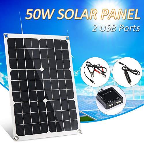 Lixada DC 5V / DC 18V 50W Panel Solar de Doble Salida con 2 Interfaz USB Cargador de Coche IP65 Resistencia al Agua…