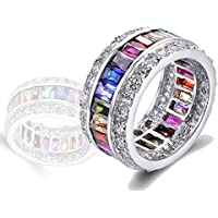 elegantshop Morganite Topaz Garnet Amethyst Kunzite Peridot Ruby 925 Silver Filled Ring (9)