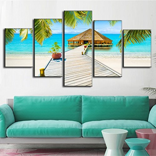 Beach Palm Tree House Scene of Sea Landscape Picture Modern Painting on Canvas 5 PCS Framed Wall Art for Living Room Bedroom Kitchen Home Deco Stretched Gallery Canvas Wrap Giclee Print(60''W x (Beach Scene Paintings)