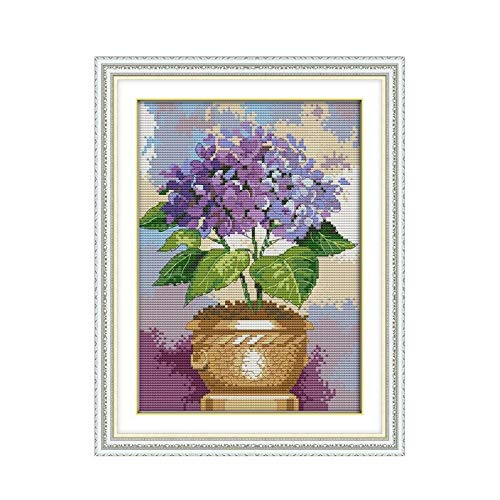 Enchantee Purple Flowers Pots Sewing Manual 11CT 14CT Count Embroidered Cross Stitch Kit Furniture Decoration Accessories Paintings ()