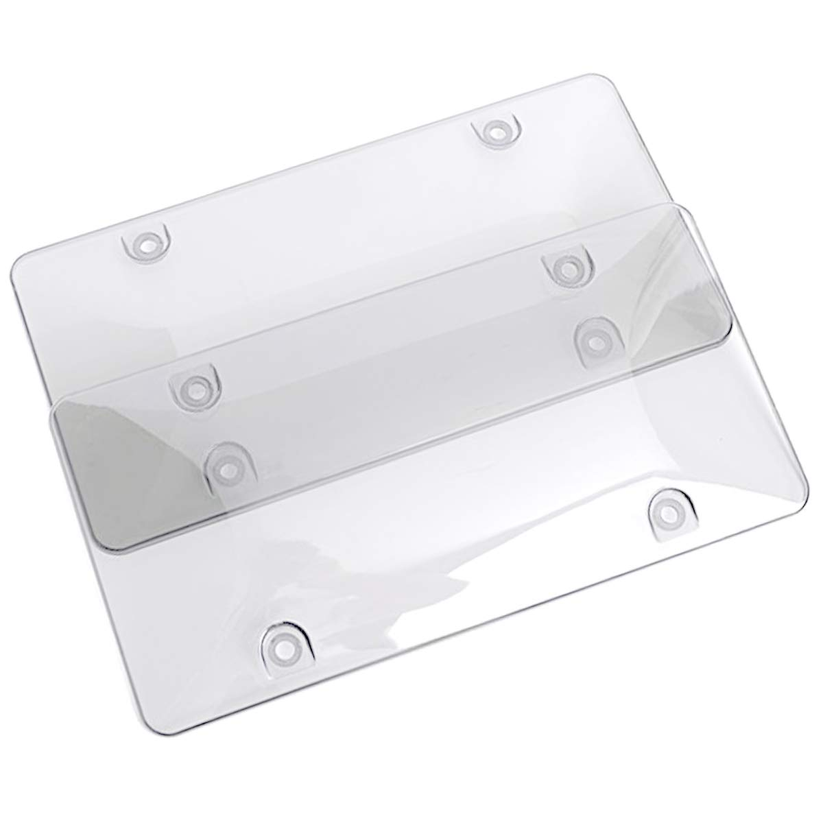 WildAuto License Plate Cover, 2Pack Car Licenses Frame Shields with Screws Caps(Smoked Bubble) CA-WA-Slicense CoverT-2pcs