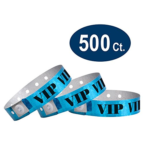 (WristCo Holographic Blue VIP Plastic Wristbands - 500 Pack Wristbands for Events)