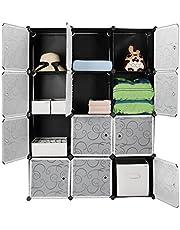 SortWise 12 Cube Multi-Use DIY Plastic Portable Wardrobe Closet Organizer, Bookcase, Storage Cabinet, Wardrobe Closet, Space Saving & Sturdy Construction (Black)