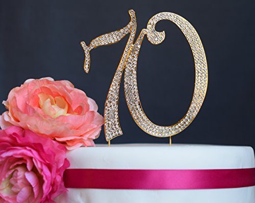 70 Monogram (70 GOLD Cake Topper - Premium Crystal Rhinestones - Monogram Number Seventy - 70th Birthday or Anniversary Party Decoration - Crystals Securely Attached - Perfect Keepsake (70 Gold))