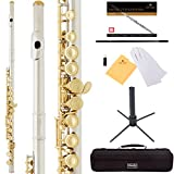 Mendini by Cecilio Premium Grade Closed Hole C Flute with Stand, Book, Deluxe Case and Warranty-Silver Nickel with Gold Keys, MFE-JNG+SD+PB