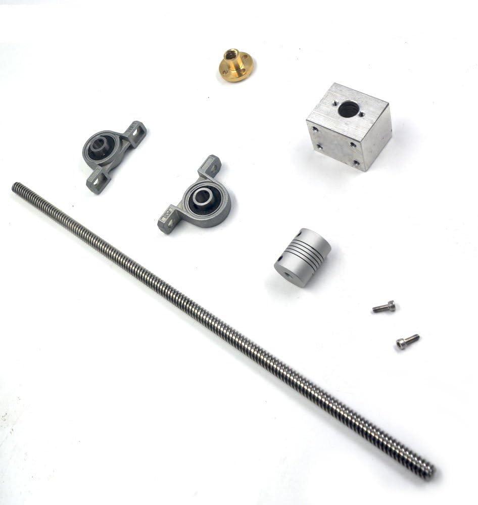 100mm Length 8mm Dia Silver Horizontal 8mm Lead Screw Rod & Pillow ...
