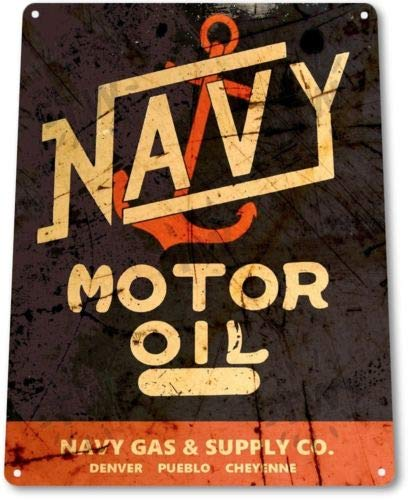 TIN Sign Navy Motor Oil Metal Sign Gas Oil Auto Garage Sign Decor