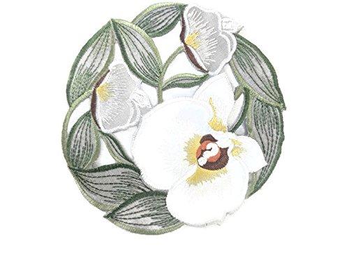 DoilyラウンドイースターホワイトOrchids、グリーングレーの葉サイズ7インチ   B079H51X6M