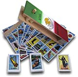 """DEMIL Combo Traditional Matraca Toy Noise Maker for Games, Parties and Sports 10"""" with Autentica Loteria Mexicana Family Board Game - Set of Medium Boards and Deck of 54 Cards"""