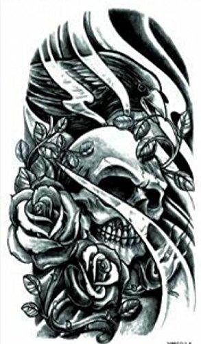 Ggsell Negro Y Blanco Calavera Con Rosas Tatuajes Temporales Amazon