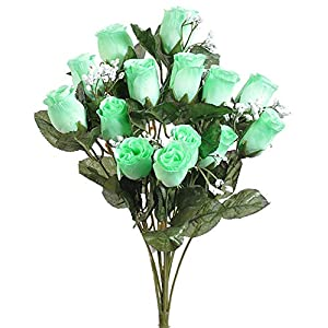 14 Long Stem Mint Green Roses Buds Wonderful Silk Wedding Flowers Bouquets Centerpieces 53