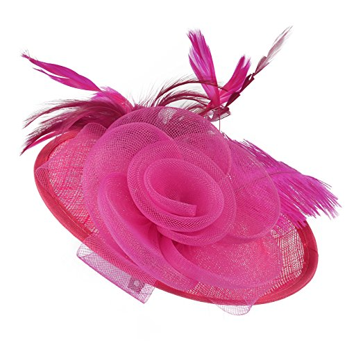 Pink Hat Fancy Pin (Original One Women Kentucky Derby Dress Church Tea Party Hairpin Fascinators Small Hats (Rose))