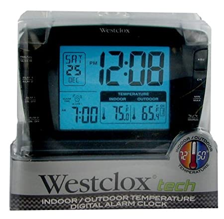 westclox lcd dual alarm clock with wireless outdoor temperature rh amazon co uk