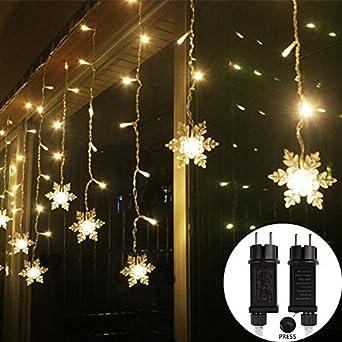 Weihnachtsbeleuchtung Für Balkongeländer.3 5 1m Schneeflocken Lichtervorhang 8 Modi 96 Led 31v Ip44 Dimmbare Curtain Light Weihnachtsbeleuchtung Für Balkon Fenster Schaufenster Wand