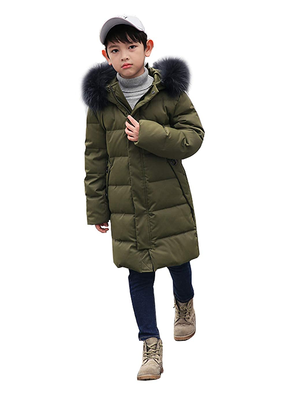 YEEFINE SNOWING Kids Mid-Long Down Jacket Puffer Coat for Big Boys