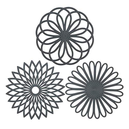 Silicone Trivet Mat, IPHOX Set of 3 Multi-Use Intricately Carved Hot Pot Trivets for Hot Dishes, Kitchen Mats, Table Mats, Insulated Flexible Non-Slip & Heat Resistant Hod Pads and Coasters (Gray)