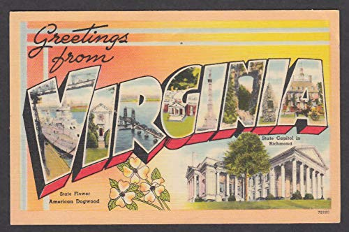 Greetings from VIRGINIA large letter postcard 1950 dogwood capitol