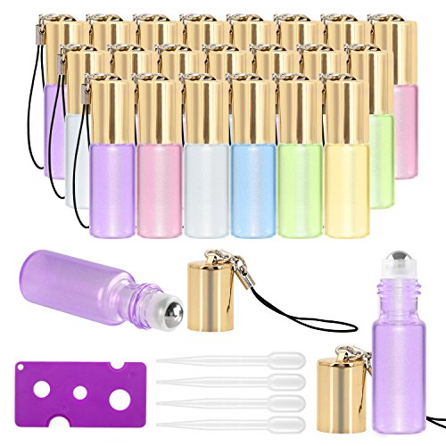 Essential Oil Roller Bottles - 24 Pack 5ml Pearl Colored Glass Roller Bottles with Stainless Steel Roller Balls by Mavogel, Essential Oil key Opener and Droppers - Perfume Bottles Roll