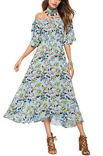 Ufatansy Vestidos de verano de las mujeres de encaje con mangas largas fuera del hombro Vestido de playa blanco Vestido de Boho de oscilación 3